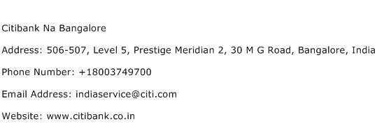 Citibank Na Bangalore Address Contact Number