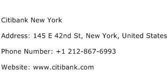 Citibank New York Address Contact Number