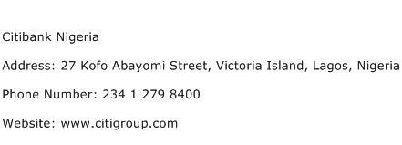 Citibank Nigeria Address Contact Number