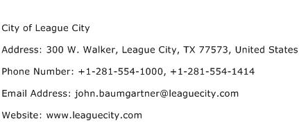 City of League City Address Contact Number
