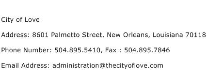 City of Love Address Contact Number