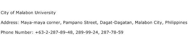 City of Malabon University Address Contact Number