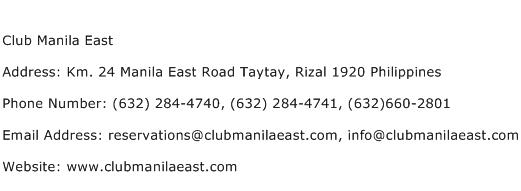 Club Manila East Address Contact Number