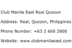 Club Manila East Real Quezon Address Contact Number