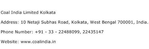 Coal India Limited Kolkata Address Contact Number