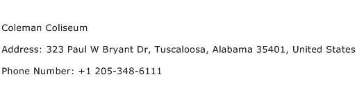 Coleman Coliseum Address Contact Number