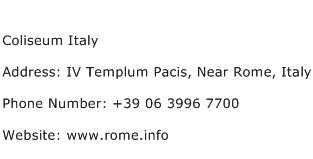 Coliseum Italy Address Contact Number