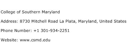 College of Southern Maryland Address Contact Number