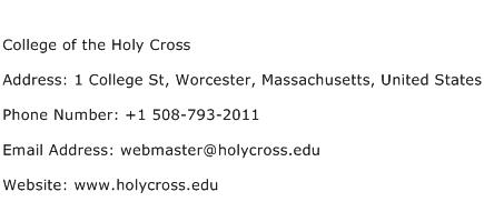College of the Holy Cross Address Contact Number