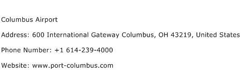 Columbus Airport Address Contact Number