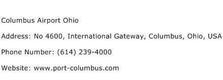 Columbus Airport Ohio Address Contact Number