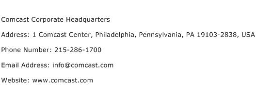 Comcast Corporate Headquarters Address Contact Number
