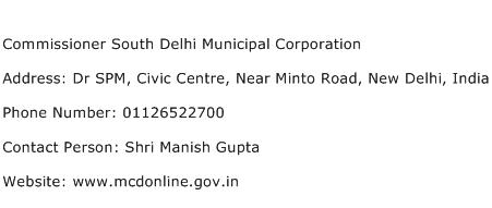 Commissioner South Delhi Municipal Corporation Address Contact Number