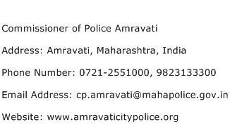 Commissioner of Police Amravati Address Contact Number