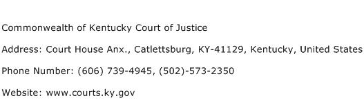 Commonwealth of Kentucky Court of Justice Address Contact Number