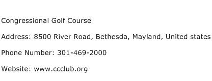 Congressional Golf Course Address Contact Number