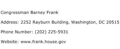 Congressman Barney Frank Address Contact Number
