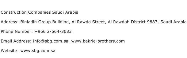 Construction Companies Saudi Arabia Address Contact Number