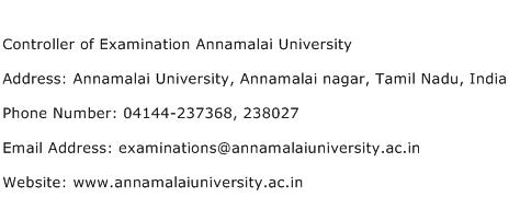 Controller of Examination Annamalai University Address Contact Number