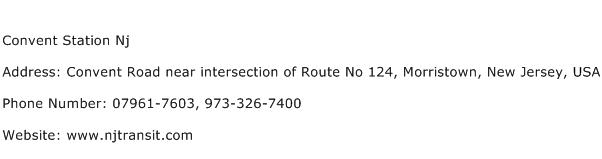 Convent Station Nj Address Contact Number
