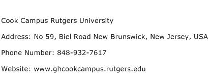 Cook Campus Rutgers University Address Contact Number