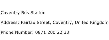 Coventry Bus Station Address Contact Number