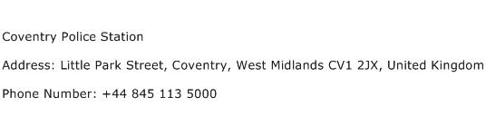 Coventry Police Station Address Contact Number
