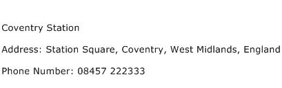 Coventry Station Address Contact Number