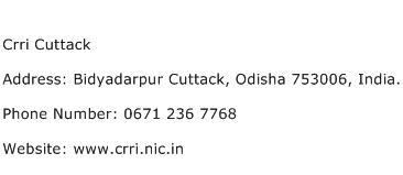 Crri Cuttack Address Contact Number