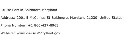 Cruise Port in Baltimore Maryland Address Contact Number