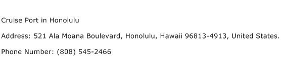 Cruise Port in Honolulu Address Contact Number