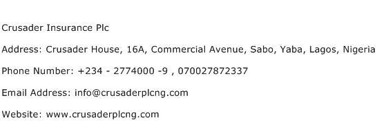 Crusader Insurance Plc Address Contact Number