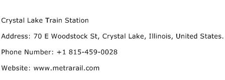 Crystal Lake Train Station Address Contact Number
