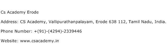 Cs Academy Erode Address Contact Number