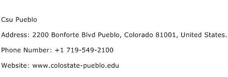 Csu Pueblo Address Contact Number