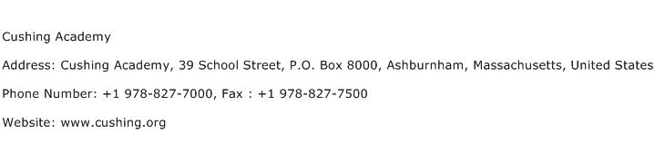 Cushing Academy Address Contact Number
