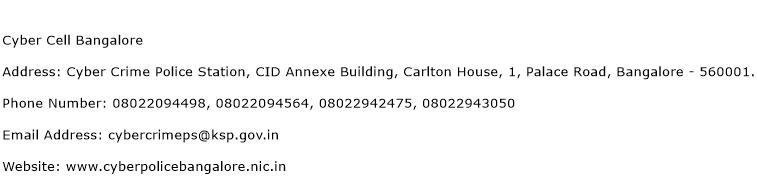 Cyber Cell Bangalore Address Contact Number