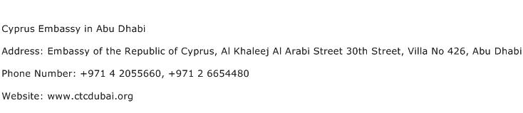 Cyprus Embassy in Abu Dhabi Address Contact Number