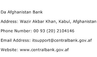 Da Afghanistan Bank Address Contact Number