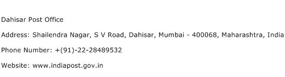 Dahisar Post Office Address Contact Number