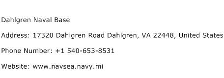 Dahlgren Naval Base Address Contact Number
