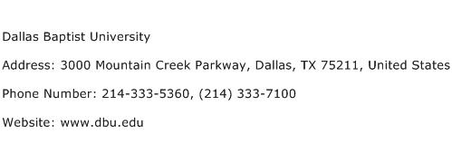 Dallas Baptist University Address Contact Number