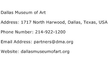 Dallas Museum of Art Address Contact Number