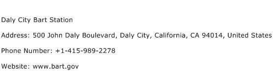 Daly City Bart Station Address Contact Number