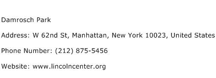 Damrosch Park Address Contact Number