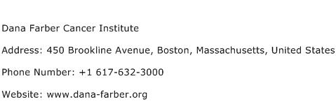 Dana Farber Cancer Institute Address Contact Number