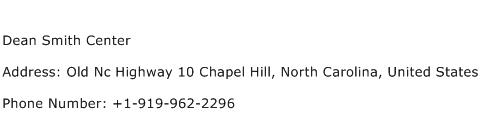 Dean Smith Center Address Contact Number
