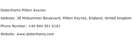 Debenhams Milton Keynes Address Contact Number