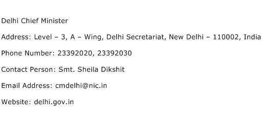 Delhi Chief Minister Address Contact Number