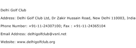 Delhi Golf Club Address Contact Number